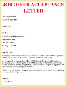 Job fer Acceptance Letter write a formal job acceptance letter