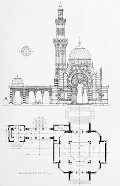 Elevation and plan of the Alfredo De Bernardi Pavilion at the 1906 Exposition, Milan Architecture Blueprints, Architecture Mapping, Mosque Architecture, Architecture Drawings, Historical Architecture, Architecture Details, Architectural Floor Plans, Architectural Elements, House Front Design
