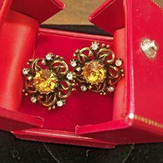 CORO Earrings Faceted Topaz Glass Rhinestone Antiqued Finish Clips Nashville #Coro #Cluster