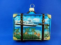 Caribbean tropical suitcase ornament. Perfect for those who love to go on cruises or visit the beach. Found on Vintage Treasures ornament