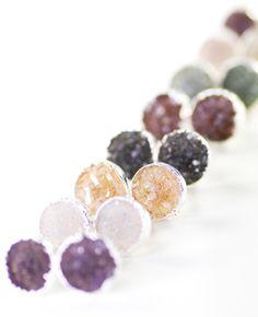 A'ia'i earrings - silver druzy stud earrings, silver druzy post earrings, www.kealohajewelry.etsy.com Maui Hawaii