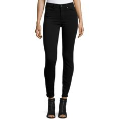 Paige Denim Hoxton Ultra-Skinny Ankle Jeans ($190) ❤ liked on Polyvore featuring jeans, black shadow, high-waisted jeans, skinny ankle jeans, cropped skinny jeans, high rise jeans and skinny fit jeans