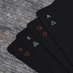 """Minim"" is a deck of regulation playing cards that considers how much design you can take away while still maintaining a playable deck. Simple geometric symbols are reductive versions of hearts, clubs, diamonds and spades."