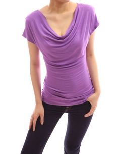 PattyBoutik Simple Cowl Neck Short Sleeve Casual Blouse Top (Purple S) PattyBoutik http://www.amazon.com/dp/B00CZ2QO4M/ref=cm_sw_r_pi_dp_.X0lub1BZJBYX