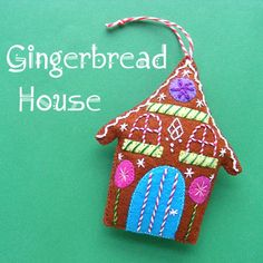 Gingerbread House - a free felt Christmas ornament pattern from Shiny Happy World