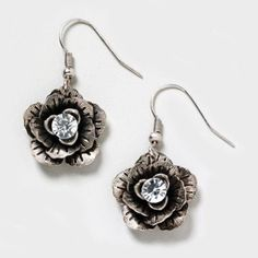 Crystal Center Silver Flower Drop Earrings  | Claire's