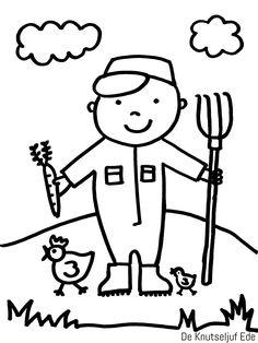 Kleurplaten - Op de Boerderij   kleurplaat kleurplaten boerderij-boer   kleurplaten   kleurplaat   boerderij   boerenleven   boer en boerin   tractor   klompen   Welke kleurplaten zijn er? Preschool Yoga, Baby Farm Animals, Le Zoo, Baby Room Themes, Drawing For Kids, Diamond Are A Girls Best Friend, Nursery Rhymes, Painted Rocks, Worksheets