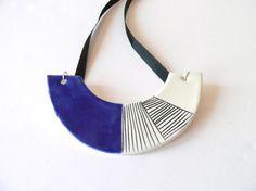 Geometric ceramic necklace geometric statement jewelry by islaclay