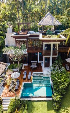 Bali has accommodations and stays for every budget! For those looking for a more secluded, relaxing luxury escape there are spots like the Four Seasons in Ubud! Send us an email today to plan your trip to Bali your way! Ubud, Bali Resort, House Goals, Modern House Design, Dream House Design, Home Fashion, Diy Fashion, My Dream Home, Dream Life