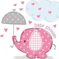 Delightful napkins to celebrate the day!  http://www.partypieces.co.uk/first-birthday-s-1st-birthday-party/christening-baby-shower/elephant-umbrella-girl/elephant-umbrella-pink-party-tablecover.html