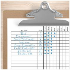 Bill Payment Tracker Log - Full Year - EXAMPLE - Printable Planning