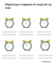 Exercise Time Sheet in Filipino Tracing Worksheets, Free Worksheets, Preschool Worksheets, Telling Time, Filipino, Exercise, Math, Learning, Ejercicio