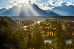 Scenic View by Quentin_Zhu on 500px... #Tyndall effect #beauty in nature #grand teton #horizontal #landscape #mountain #mountain range #river #scenic view