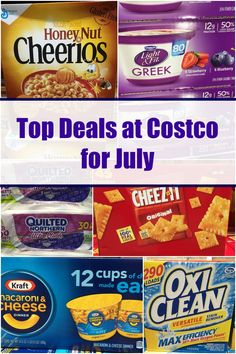 Top Deals at Costco for July including cereal, peanut butter, toilet papers, laundry detergent and more from 5DollarDinners.com