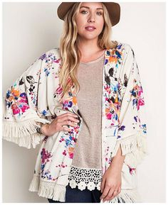 a4a554f94e0e6 Umgee PLUS Bohemian Hippie Floral Fringe Ivory Multi Kimono Duster XL 1X 2X  $58