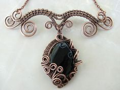 """Necklace from copper handmade """"Sleeping Dragon"""". Necklace with black agate. A gift for her. Copper wedding (7th).Boho Jewelry.Boho necklace. by NatalkaArtCopper on Etsy"""