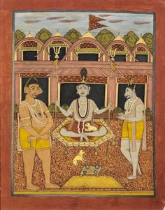 The god Bhairava.  Bengal, perhaps Chandannagar, 1760. Sitting on a throne (pitha), this god holds in each hand a trident and his forehead has a third eye. Traditionally accompanied by a dog as here, it guards the entrance of the Shaivite temples. The inscription on the back indicates it is the chief of the gods. Two monstrous creatures frame Bhairava: the left has elephant ears, while the other goat face is topped by a small woman's head. Roof of the temple is typical of Bengal.