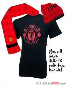 Manchester United Fan Gift Pack - T-shirt, Scarf and Beanie...$59.99