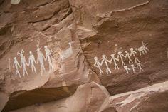 Prehistoric Anasazi petroglyphs in Grand Gulch, Utah.  Location:Grand Gulch, Utah.