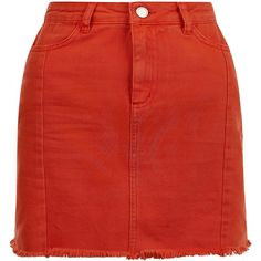 Red Denim Frayed Hem Skirt (740 ARS) ❤ liked on Polyvore featuring skirts, knee length denim skirt, red knee length skirt, red denim skirt, denim skirt and red skirt