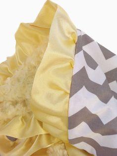 Chevron Yellow Minky Baby Blanket with  Satin Ruffle Trim. $50.00, via Etsy.