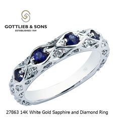 Just the like the stars in the sky, this Sapphire and Diamond ring will shine brightly on your finger. This 14K White Gold Sapphire and Diamond ring has alternating round #sapphires and #diamonds inset into the band for a multidimensional look. Visit your local #GottliebandSons retailer and ask for style number 27863.