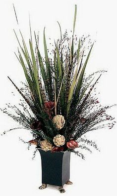 Dried Fl Arrangement Love The Feathers Flower Arrangements Artificial