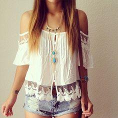 G #brunette,  #crochete,  cool,  #denim shorts -  amazing