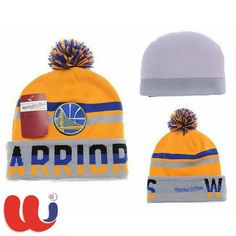 f34b2212e2c Custom Mens   Womens Golden State Warriors Mitchell   Ness NBA Trifecta  Cuffed Knit Beanie Hat With Pom - Gold   Blue   Grey
