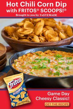 Corn Dip With Fritos, Hot Corn Dip, Frito Corn Dip, Tailgate Food, Tailgating, Appetizer Dips, Appetizer Recipes, Dip Recipes, Cooking Recipes