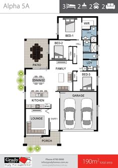 Alpha 5 - 3 Bedroom House Plan with Theatre Lounge, 2 Bathrooms, Double Garage. House floor Plan by Townsville Home Builder Grady Homes. 3 Bedroom Floor Plan, Bedroom House Plans, Duplex Floor Plans, House Floor Plans, 4 Bedroom House Designs, Energy Efficient Homes, Double Garage, House Blueprints, Bedroom Layouts