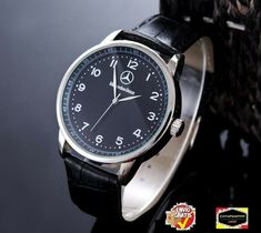 95fe002e117 Mercedes Benz Men s Watch Stainless Steel black Leather Strap Black Dial  Rolex Watches