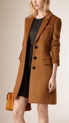 Manteau ajusté en laine vierge et poil de lama
