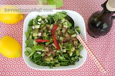 Metabolism Booster Salad Recipe - Ingredients: 3 stalks of green onions, 5 lettuce leaves, 6 stalks of rukolla, 1 handful of fresh mint leaves, Salad Recipes, Healthy Recipes, Green Beans, Spinach, Detox, Cabbage, Salads, Recipies, Food And Drink