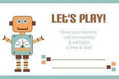 Busy Bees: Boy Playdate Card- For D to keep in touch with some kids from class