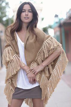 70s Camel Tan Boho Hippie Fringe Shawl Cape - Eloise