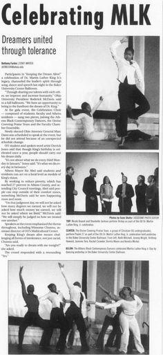 "Post (Athens, Ohio) January 16 2007, page 1: ""Celebrating MLK"" ""Dreamers united through tolerance"". :: Ohio University Archives"