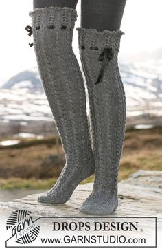 "Ravelry: Long socks in ""Fabel"" with cables, lace pattern and silk ribbon pattern by DROPS design. Woolen Socks, Silk Socks, Magazine Drops, Drops Design, Thigh High Socks, Boot Socks, Knee Socks, Fun Socks, Boot Cuffs"