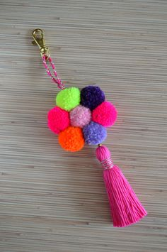 Tassel Handbag Keychain Pompom Gypsy Indian Pom Tribal Ring Boho Keyring Bag D