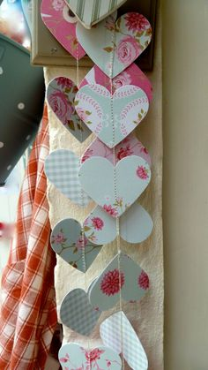 SALE Paper garland paper mobile Shabby Chic Roses and by LaMiaCasa, $8.00