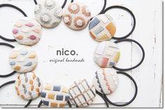 こんばんは*今日は、新しくお取り扱いさせていただくことになりました作家さま「nico.」さんのお品たちのご紹介です*こちら↓はとっても可愛い刺繍のヘアゴム...