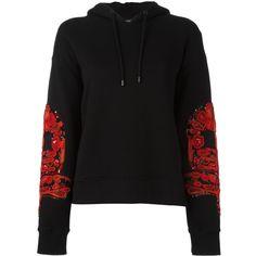 Marcelo Burlon County Of Milan patched sleeves hoodie ($515) ❤ liked on Polyvore featuring tops, hoodies, black, long sleeve sequin top, logo hoodie, drawstring hooded pullover, long sleeve hoodie and sequin hoodies