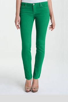 Look Gorgeous in Green.   The skinny on Emerald, the color for 2013. Stay far away from anything red when wearing emerald to avoid looking like a Christmas tree. Try pairing green skinny jeans with a nude top and shoes for an approachably casual take on the opulent color.