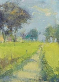 Hannah Woodman,'Sunny Path through the Trees' Oil on board 35 x 25cm