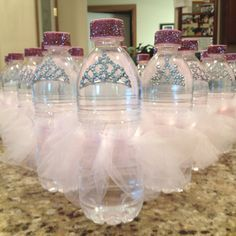 Princess water bottles for baby girl shower - HOW CUTE!!! I'm so doing this!!!