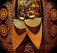 Boucles d'oreille Cuirs marrons et Bronze