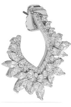 Kenneth Jay Lane - Rhodium-plated Cubic Zirconia Earrings - Silver - One size