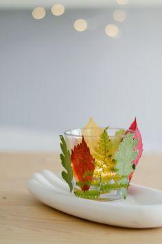 Otoño s i n n e n r a u s c h: Oktober 2013 Nature Crafts, Fall Crafts, Diy Crafts, Glands, Diy Blog, Tablescapes, Tea Lights, Serving Bowls, Panna Cotta