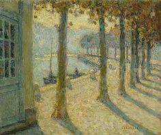 """Henri le Sidaner (1862-1939) ~ """"Les Arbres de la Rive, Quimperlé"""", 1923 ~ huile sur Carton 32 x 38.6 cm"""
