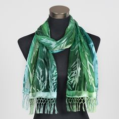 'Emerald', beautiful silk scarf hand painted by Marlyse Carroll